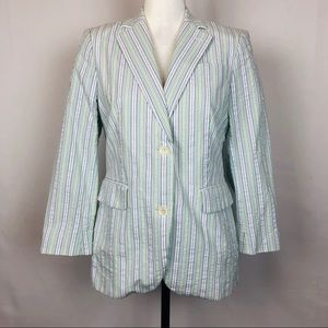 Brooks Brothers Blue Green &White Striped Blazer 4